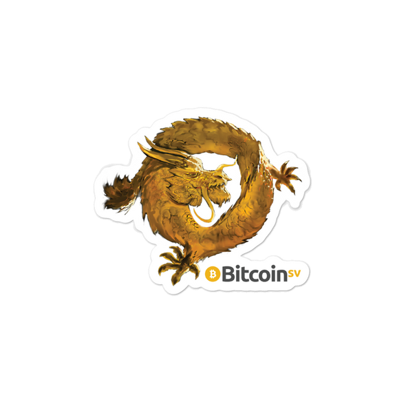 Bitcoin SV Woken Dragon Bubble-Free Vinyl Stickers 3x3  - zeroconfs