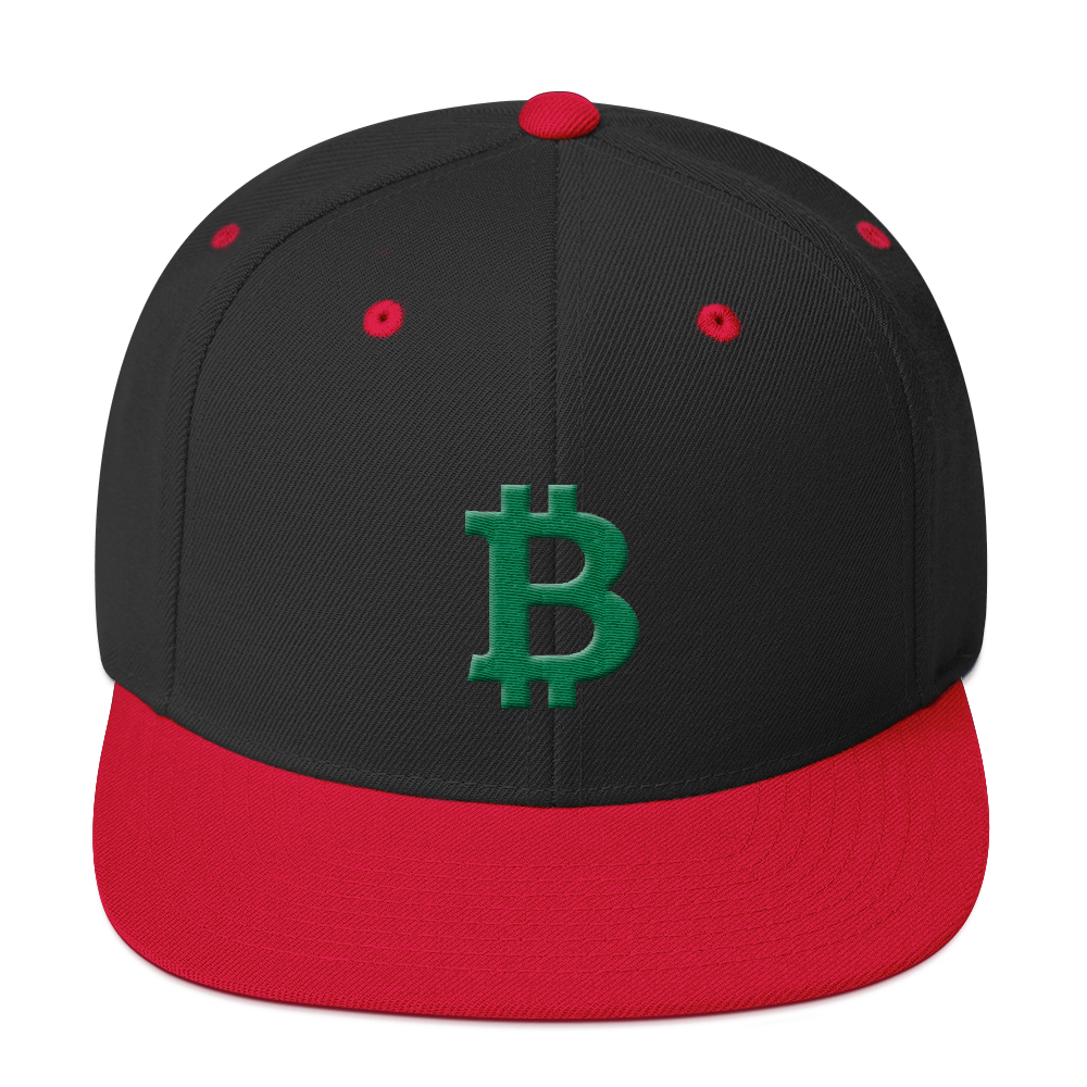 Bitcoin B Snapback Hat Green Black/ Red  - zeroconfs
