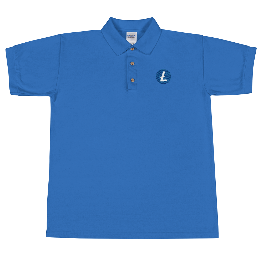 Litecoin Embroidered Polo Shirt Royal S - zeroconfs