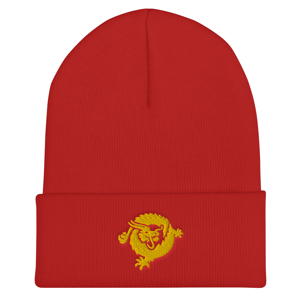 Bitcoin SV Dragon Cuffed Beanie Gold Red  - zeroconfs