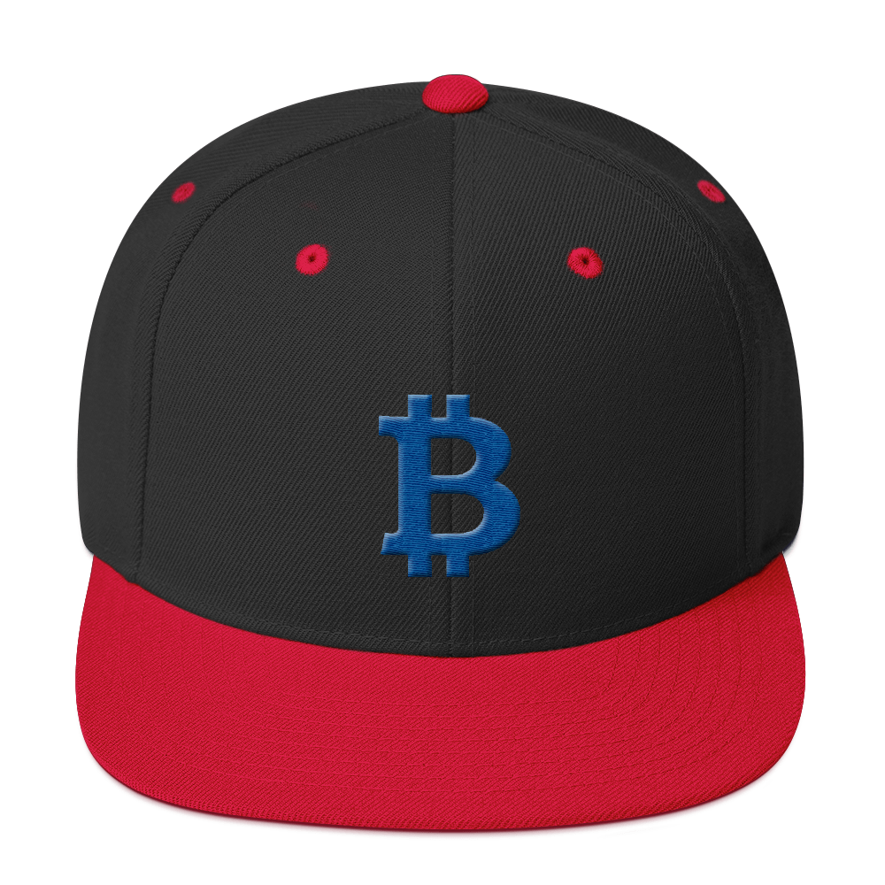 Bitcoin B Snapback Hat Blue Black/ Red  - zeroconfs