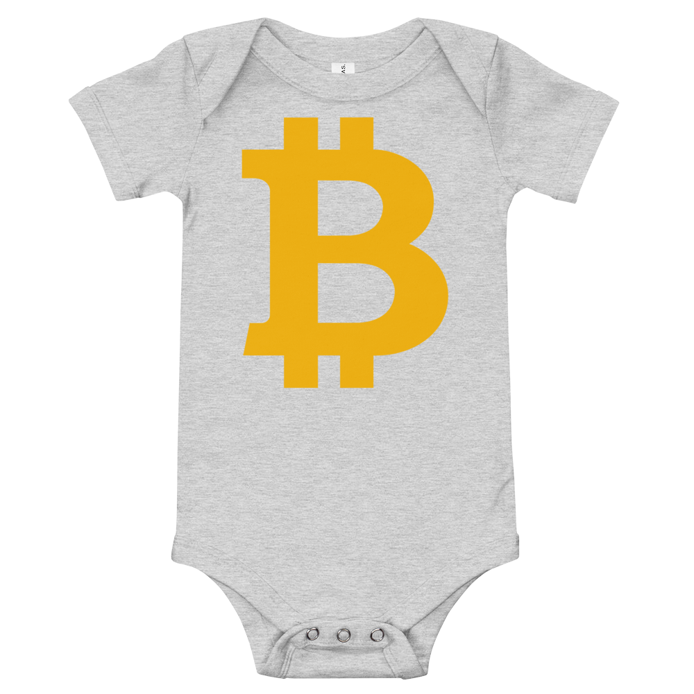 Bitcoin B Baby Bodysuit Athletic Heather 3-6m - zeroconfs
