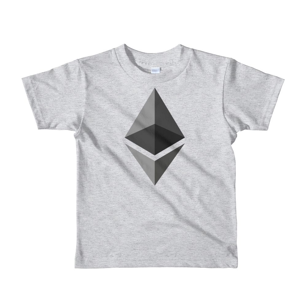 Ethereum Short Sleeve Kids T-Shirt Heather Grey 2yrs - zeroconfs
