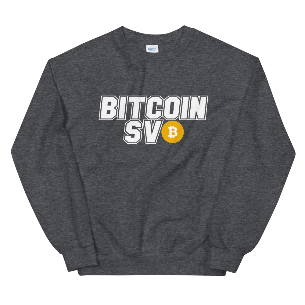 Bitcoin SV Sports Sweatshirt Dark Heather S - zeroconfs