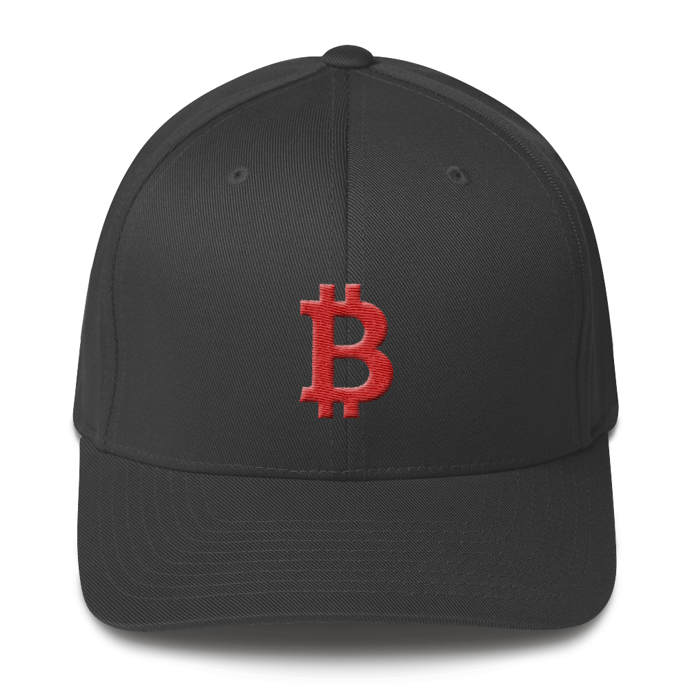 Bitcoin B Flexfit Cap Red Dark Grey S/M - zeroconfs