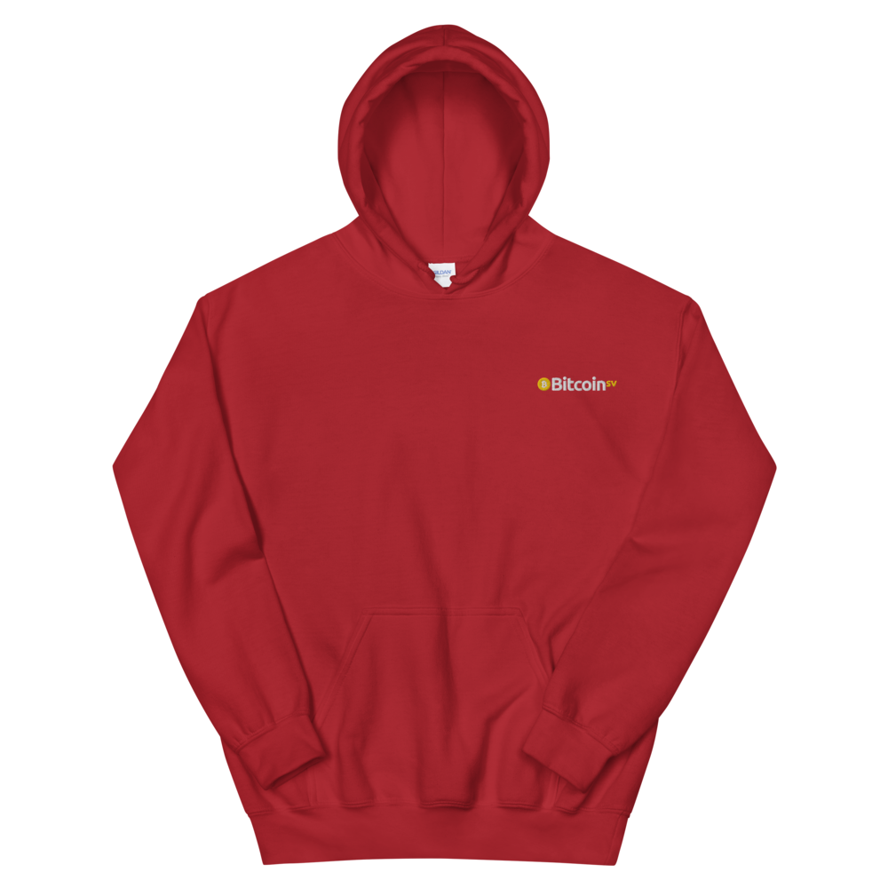 Bitcoin SV Embroidered Hooded Sweatshirt Red S - zeroconfs