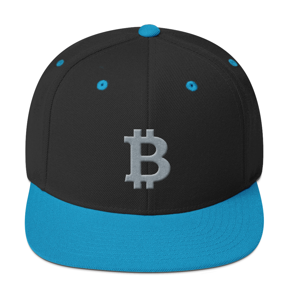 Bitcoin B Snapback Hat Gray Black/ Teal  - zeroconfs