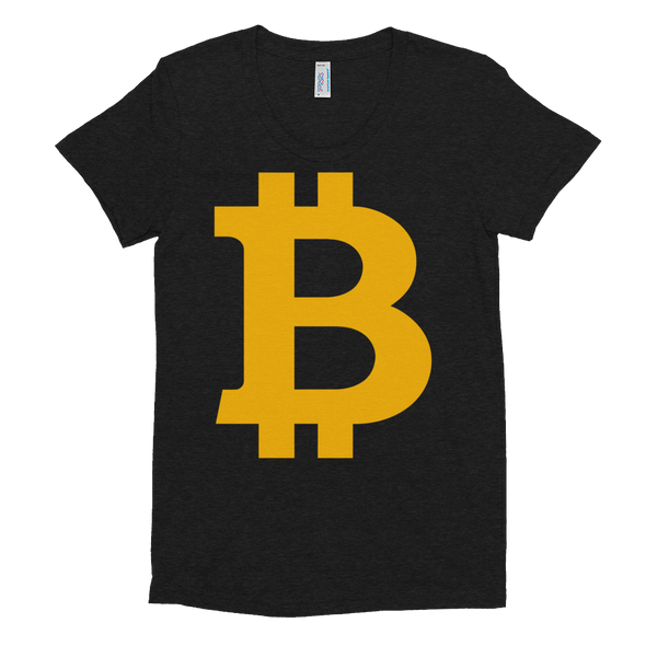 Bitcoin B Women's Crew Neck T-Shirt Tri-Black S - zeroconfs