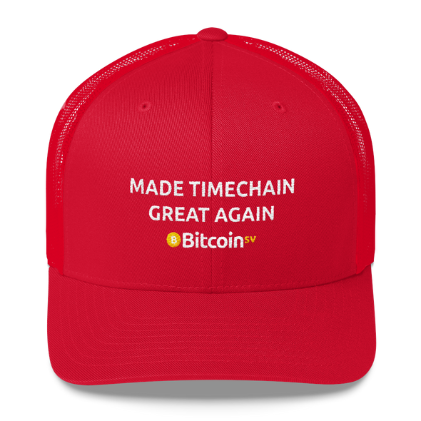 Made Timechain Great Again Bitcoin SV Trucker Cap Red  - zeroconfs