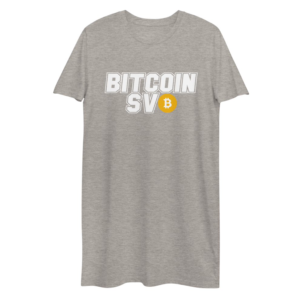 Bitcoin SV Sports Premium T-Shirt Dress Heather Grey XS - zeroconfs