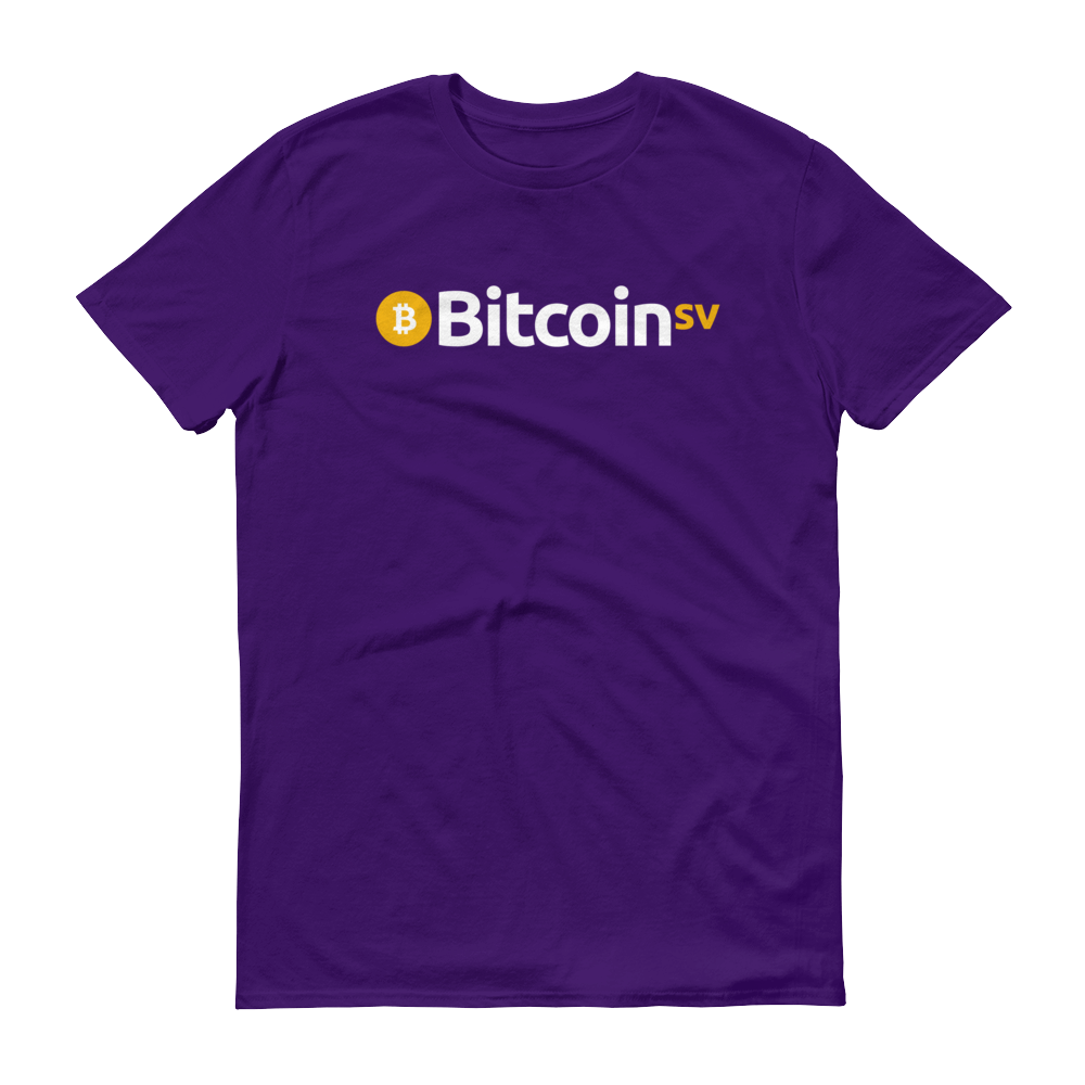 Bitcoin SV Short-Sleeve T-Shirt Purple S - zeroconfs