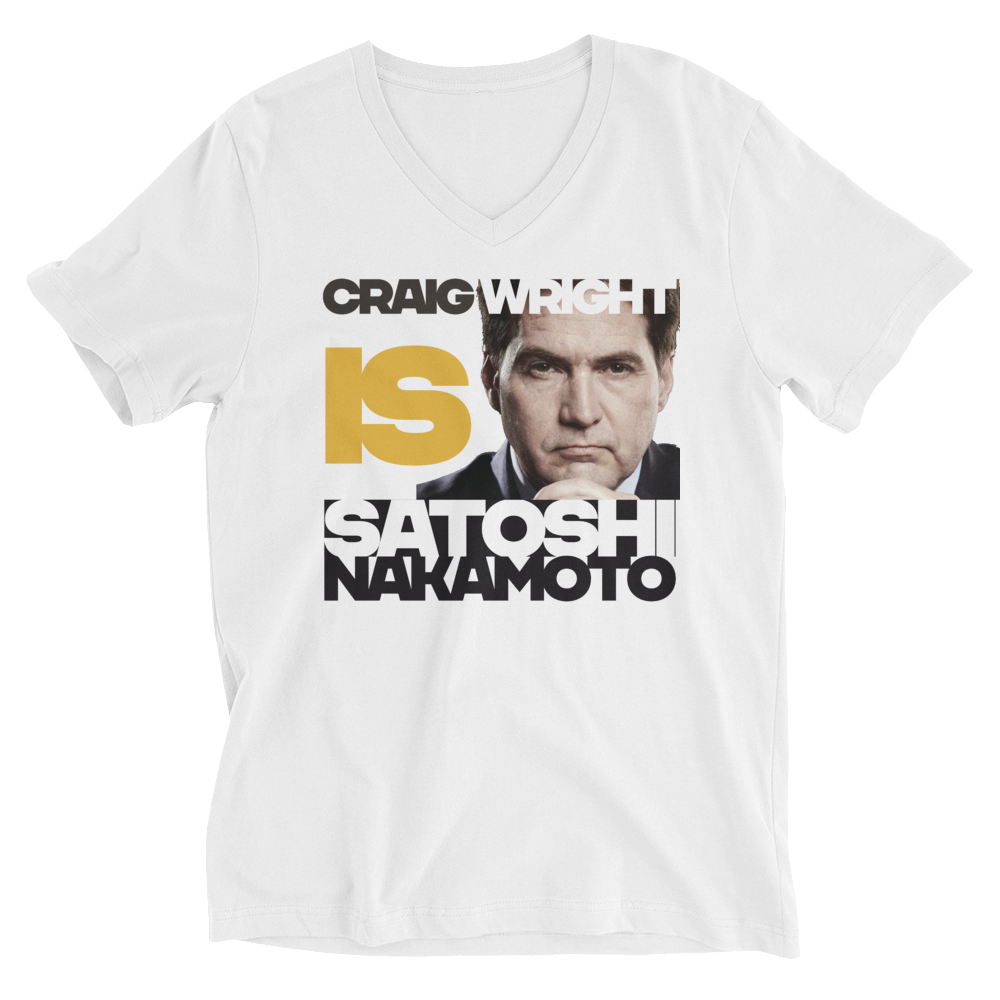 Craig Is Satoshi Deal With It V-Neck T-Shirt White S - zeroconfs
