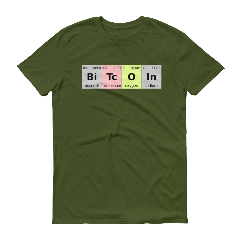 Bitcoin Periodic Table Short-Sleeve T-Shirt City Green S - zeroconfs