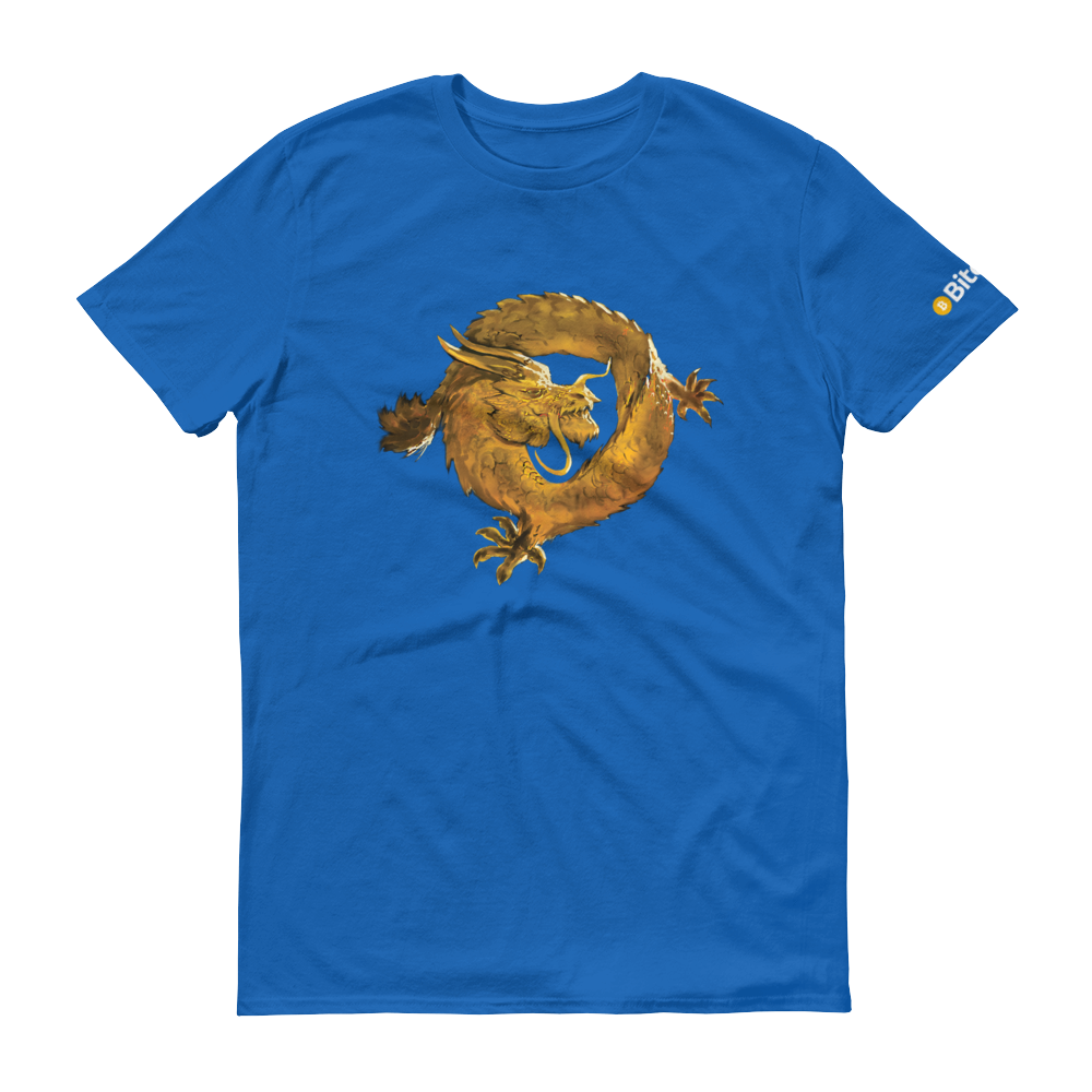 Bitcoin SV Woken Dragon Short-Sleeve T-Shirt Royal Blue S - zeroconfs