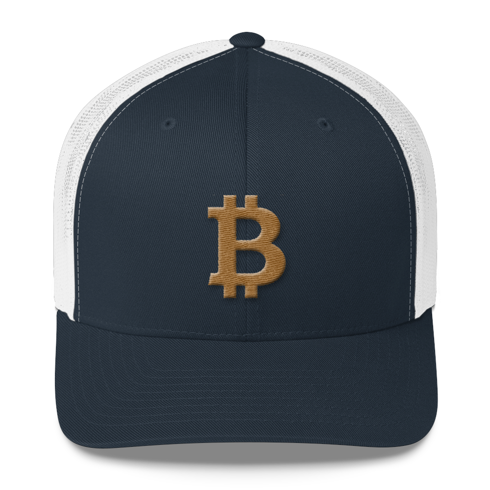 Bitcoin B Trucker Cap Gold Navy/ White  - zeroconfs
