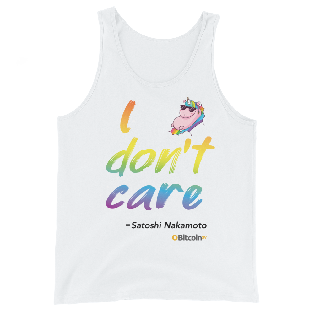 I Don't Care Bitcoin SV Tank Top White XS - zeroconfs