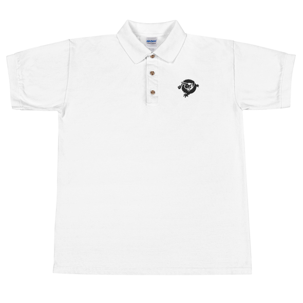 Bitcoin SV Dragon Embroidered Polo Shirt Black White S - zeroconfs