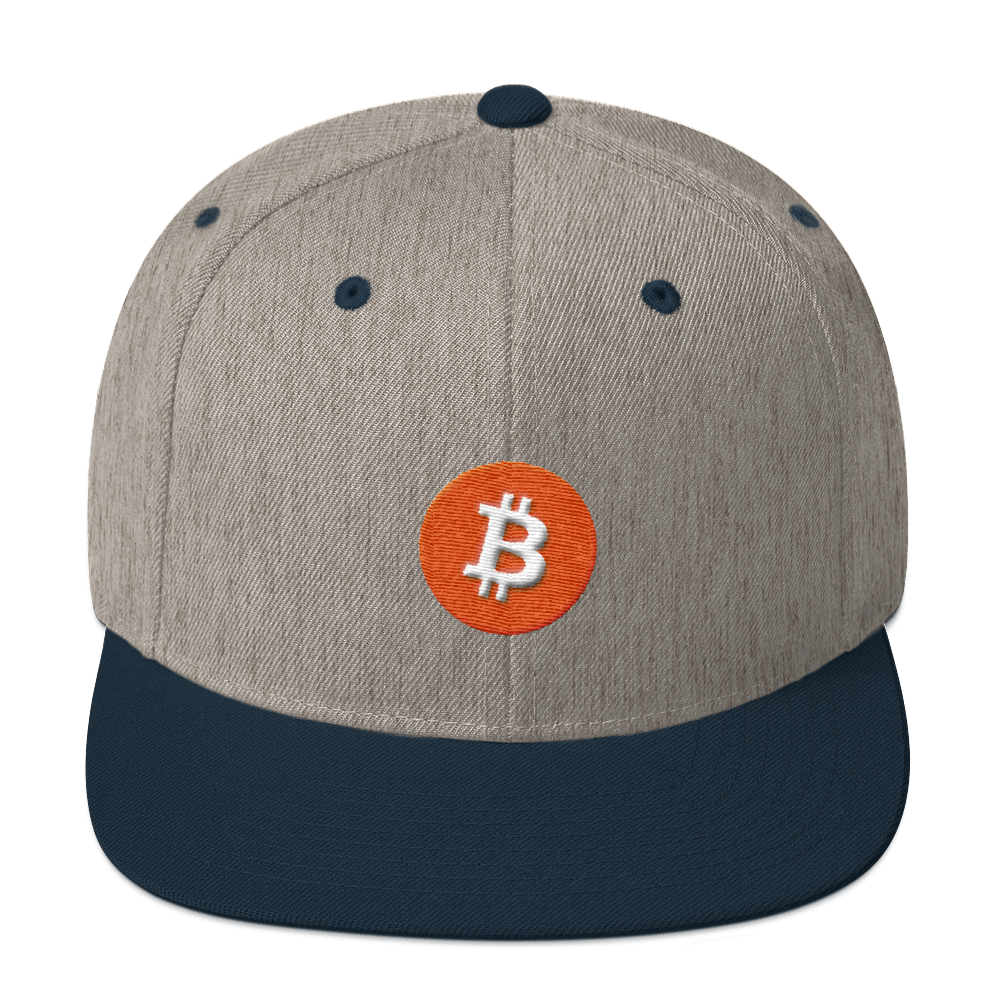 Bitcoin Core Snapback Hat Heather Grey/ Navy  - zeroconfs
