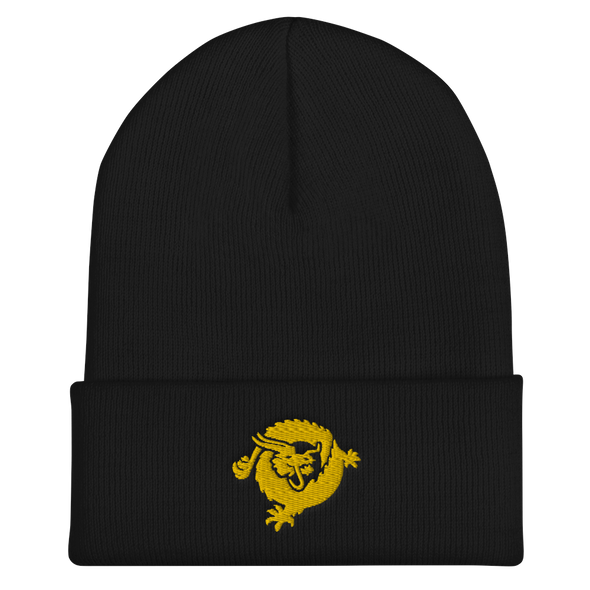 Bitcoin SV Dragon Cuffed Beanie Gold Black  - zeroconfs