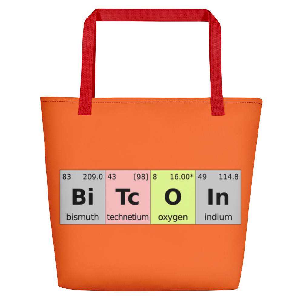 Bitcoin Periodic Table Orange Beach Bag   - zeroconfs
