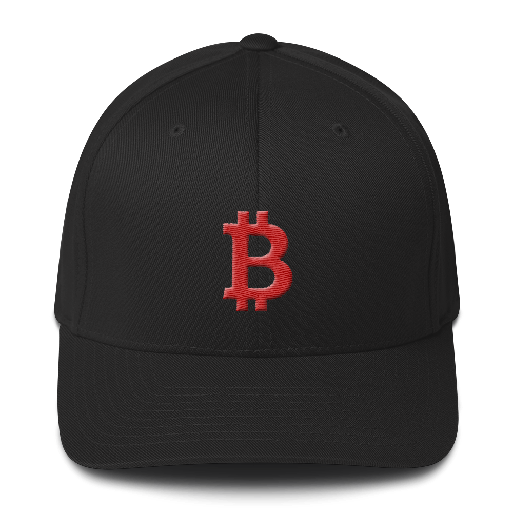 Bitcoin B Flexfit Cap Red Black S/M - zeroconfs