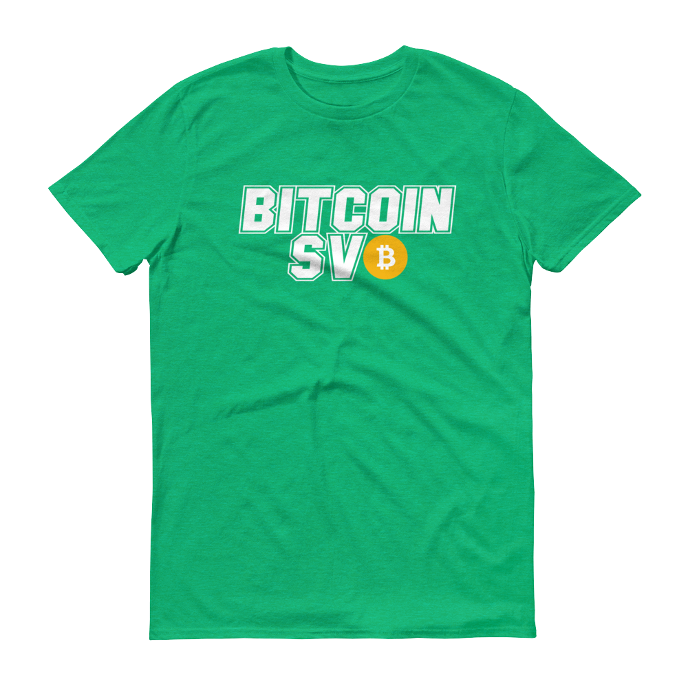 Bitcoin SV Sports Short-Sleeve T-Shirt Heather Green S - zeroconfs