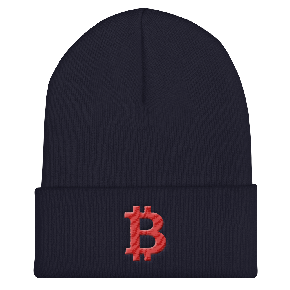 Bitcoin B Cuffed Beanie Red Navy  - zeroconfs