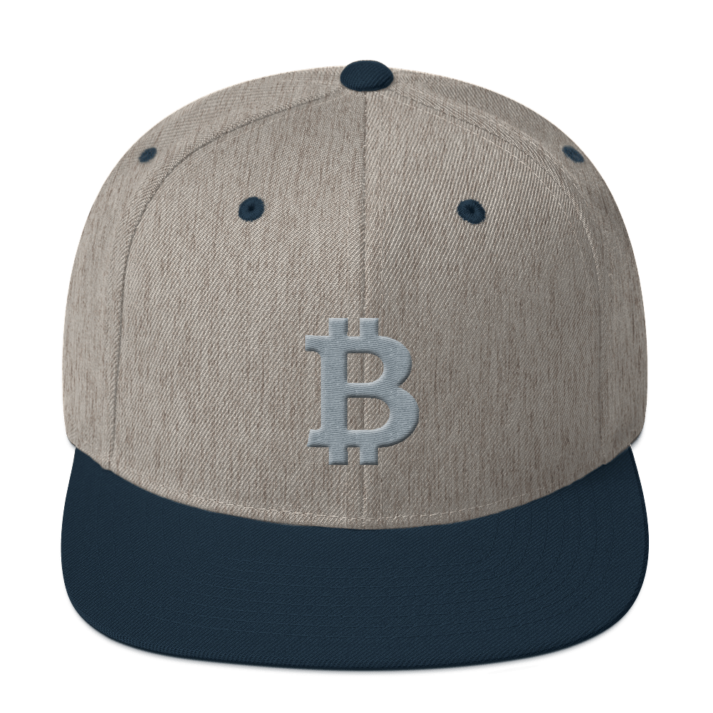 Bitcoin B Snapback Hat Gray Heather Grey/ Navy  - zeroconfs
