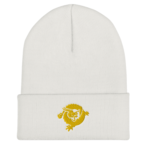 Bitcoin SV Dragon Cuffed Beanie Gold White  - zeroconfs