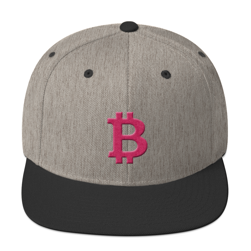 Bitcoin B Snapback Hat Pink Heather/Black  - zeroconfs