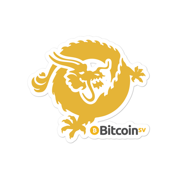 Bitcoin SV Dragon Bubble-Free Vinyl Stickers 4x4  - zeroconfs