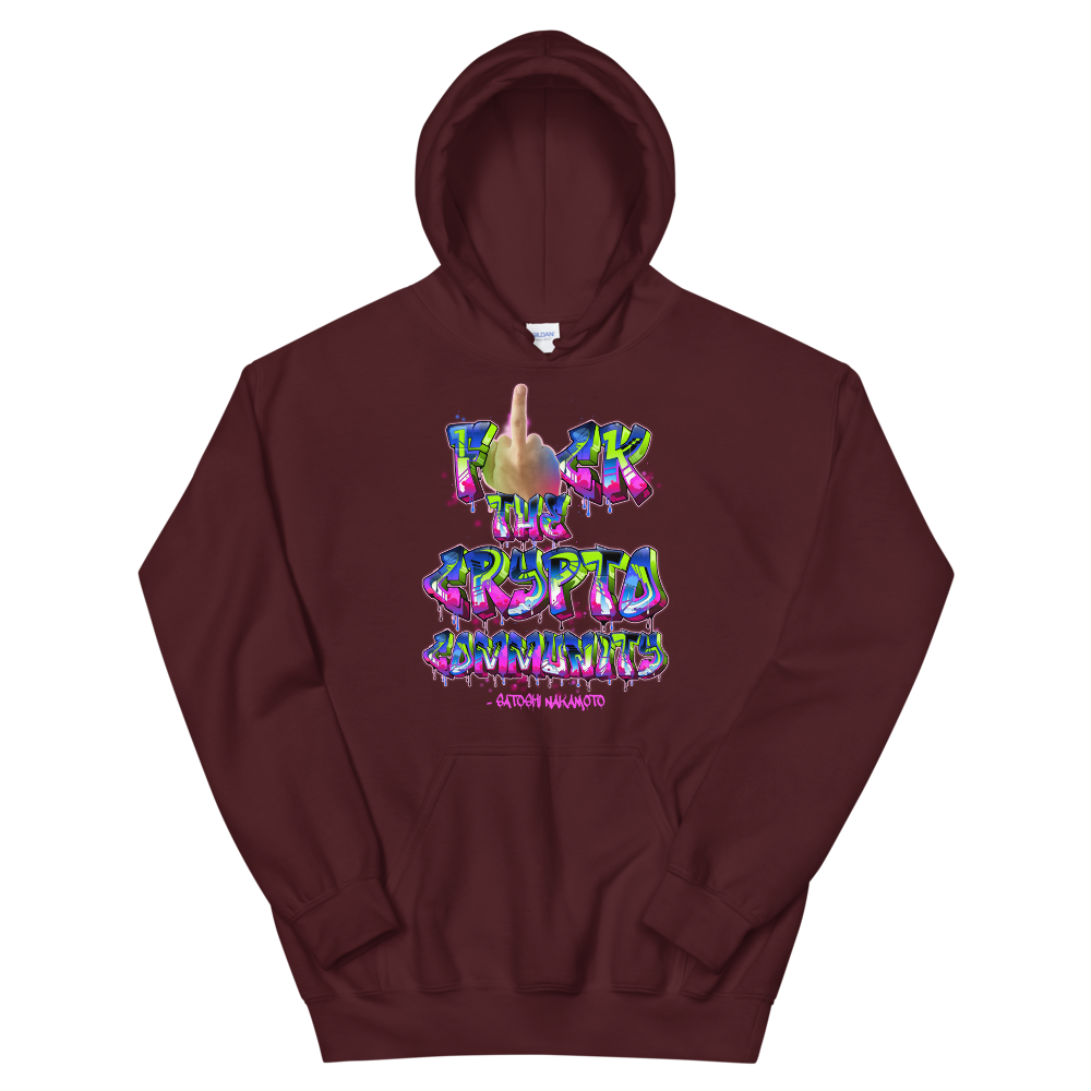 Fck The Crypto Community Hooded Sweatshirt Maroon S - zeroconfs