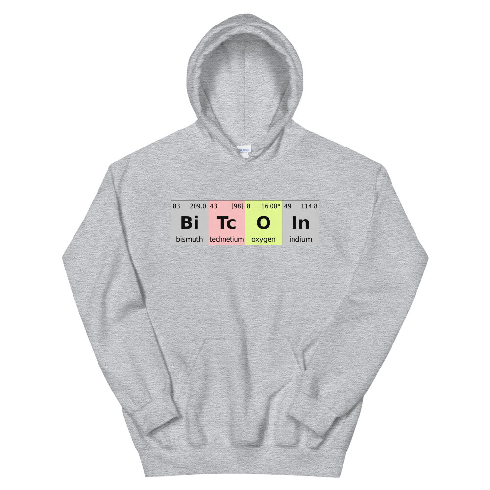 Bitcoin Periodic Table Hooded Sweatshirt Sport Grey S - zeroconfs