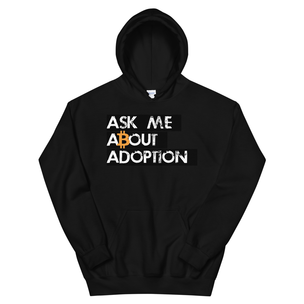 Ask Me About Adoption Bitcoin Hooded Sweatshirt Black S - zeroconfs