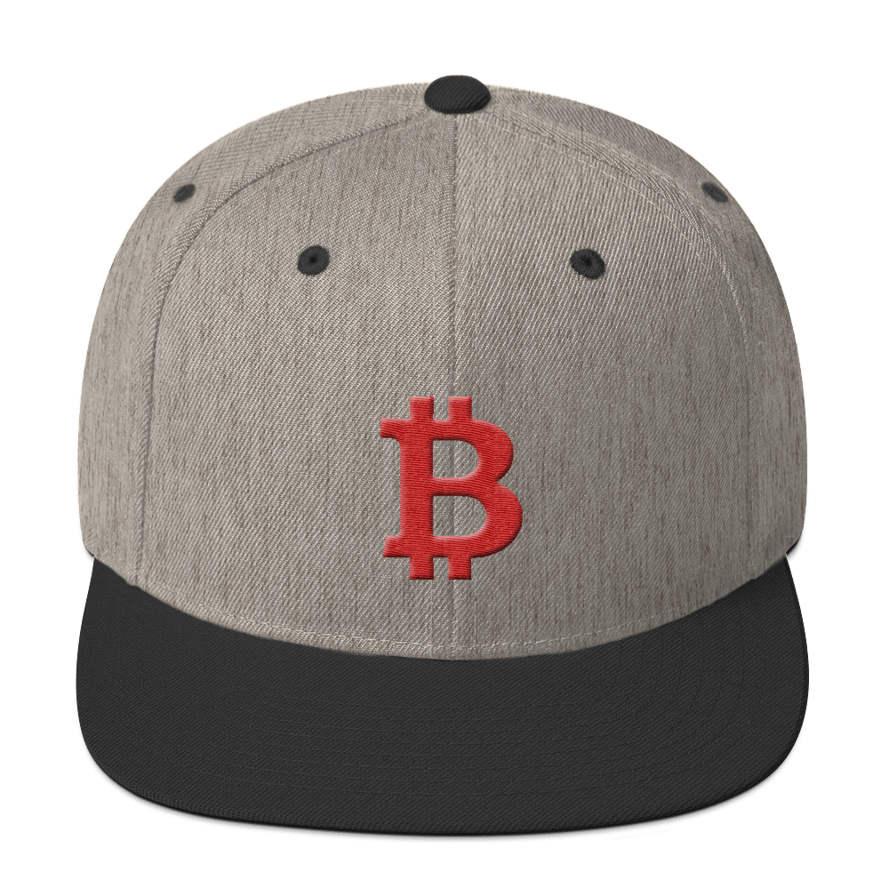 Bitcoin B Snapback Hat Red Heather/Black  - zeroconfs