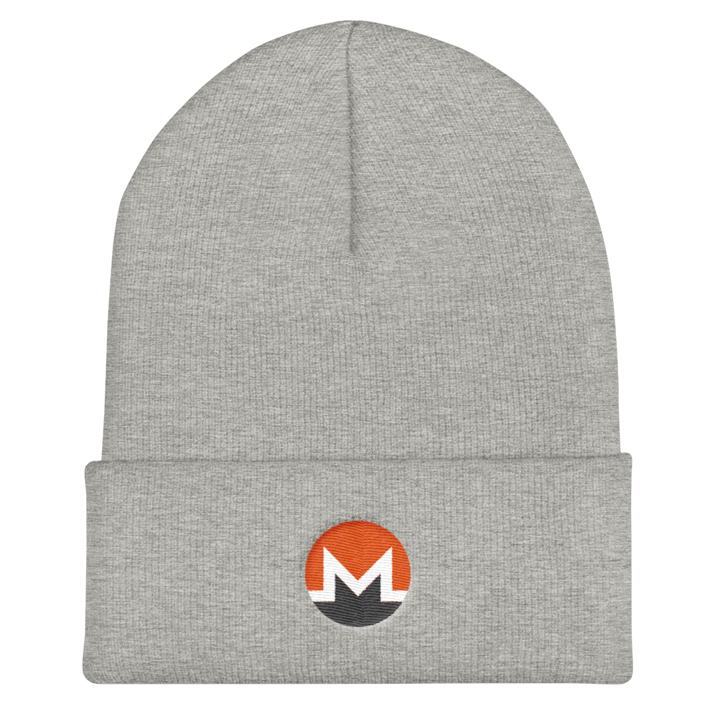 Monero Cuffed Beanie Heather Grey  - zeroconfs
