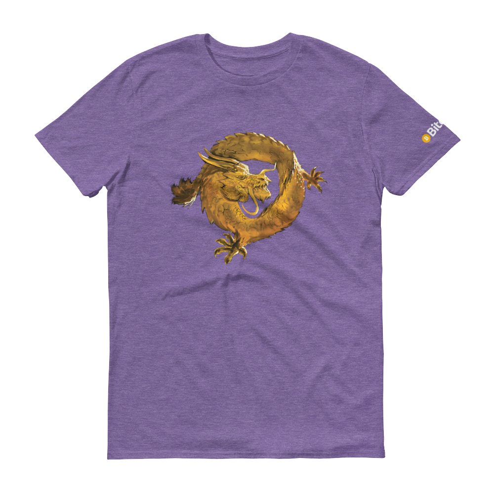 Bitcoin SV Woken Dragon Short-Sleeve T-Shirt Heather Purple S - zeroconfs