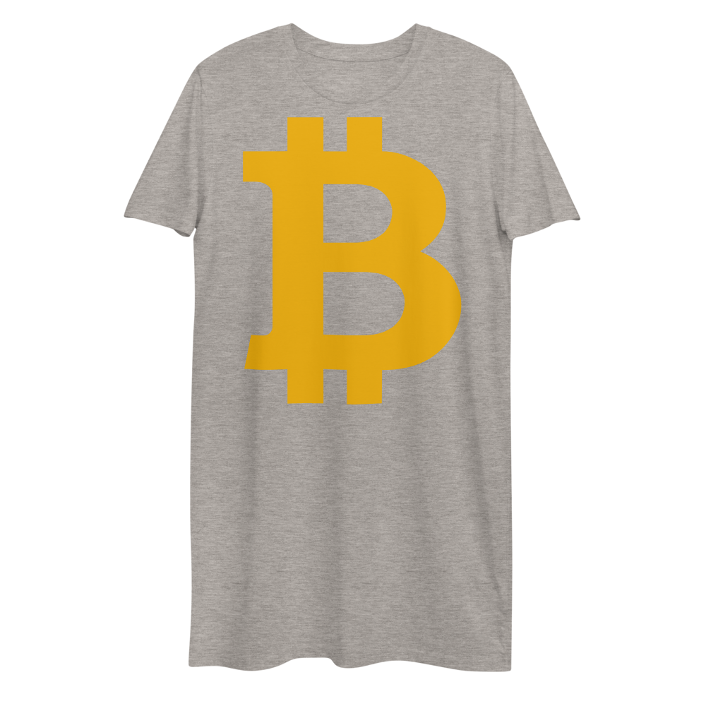 Bitcoin B Premium T-Shirt Dress Heather Grey XS - zeroconfs