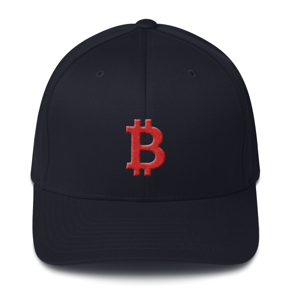 Bitcoin B Flexfit Cap Red Dark Navy S/M - zeroconfs