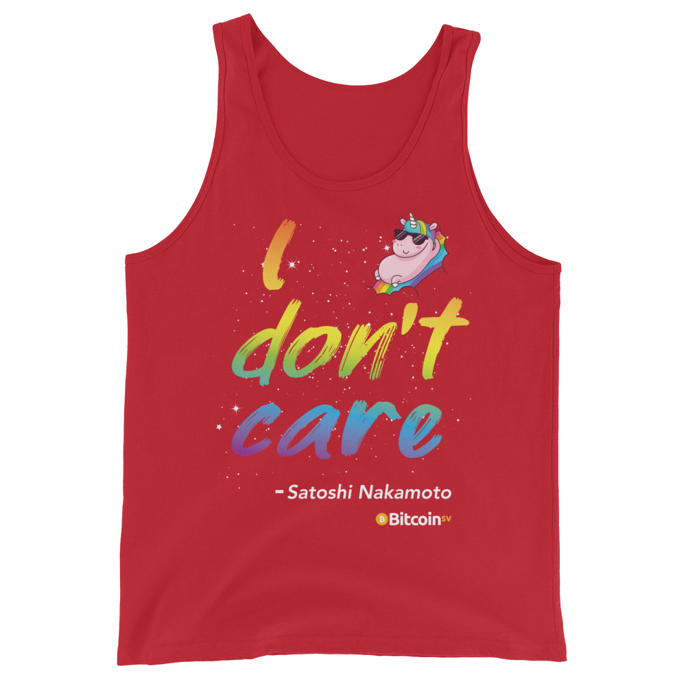 I Don't Care Bitcoin SV Tank Top Red XS - zeroconfs