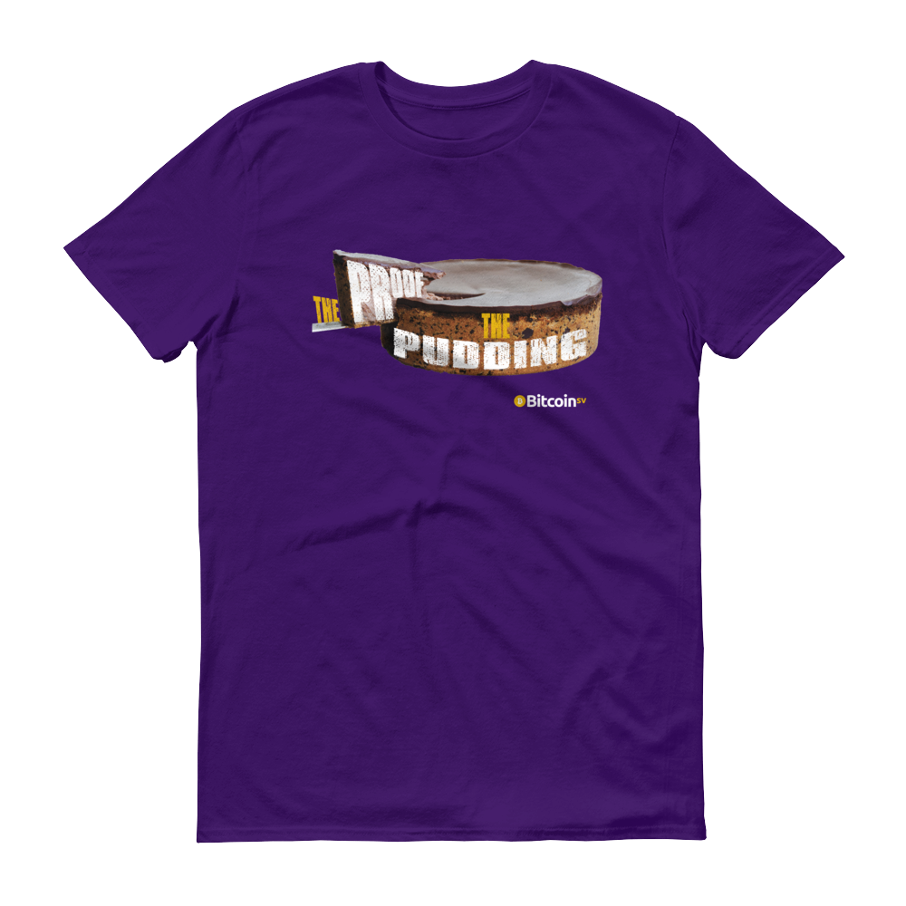 Proof Of Pudding Bitcoin SV Short-Sleeve T-Shirt Purple S - zeroconfs