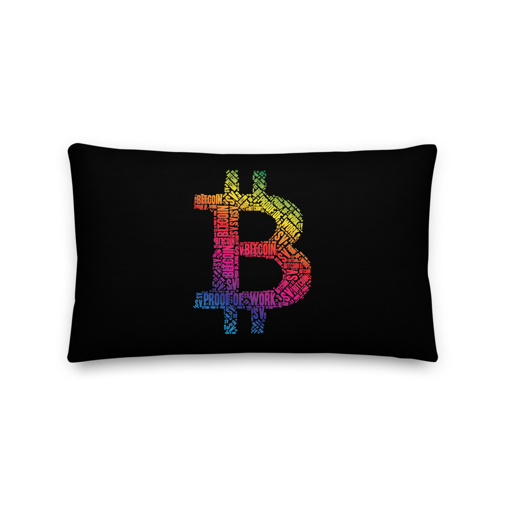 Bitcoin SV Proof Of Work Premium Pillow 20×12  - zeroconfs