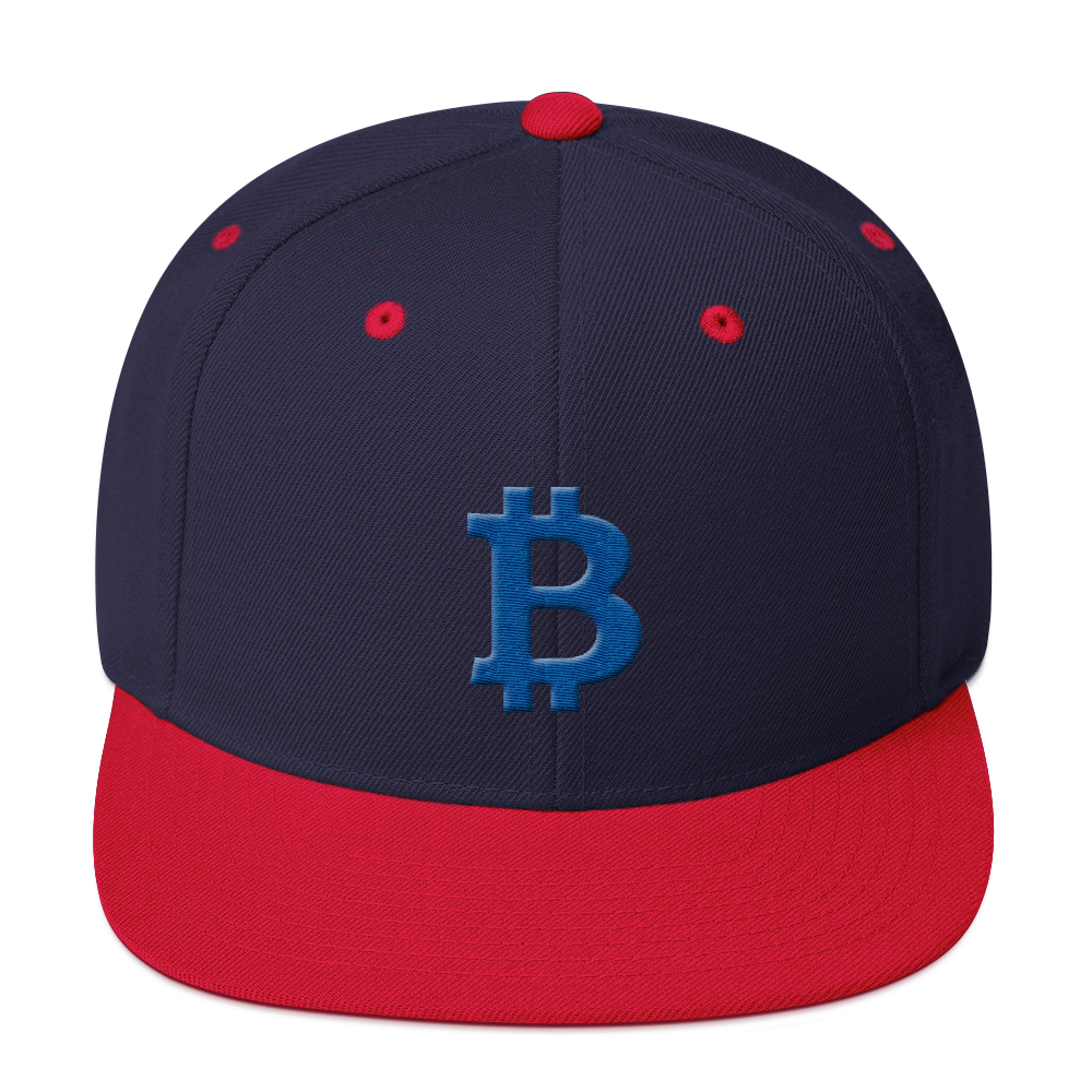 Bitcoin B Snapback Hat Blue Navy/ Red  - zeroconfs