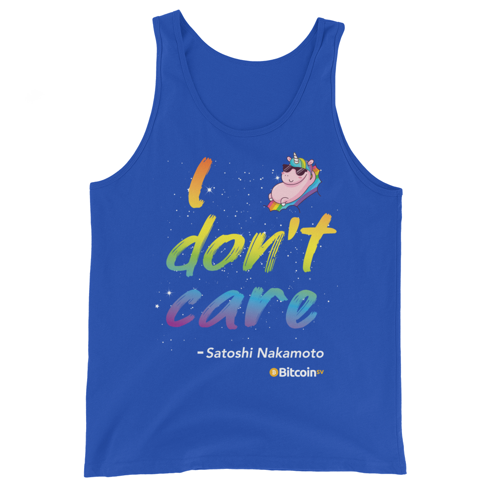 I Don't Care Bitcoin SV Tank Top True Royal XS - zeroconfs