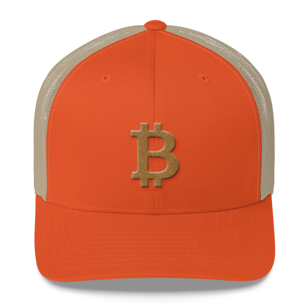 Bitcoin B Trucker Cap Gold Rustic Orange/ Khaki  - zeroconfs