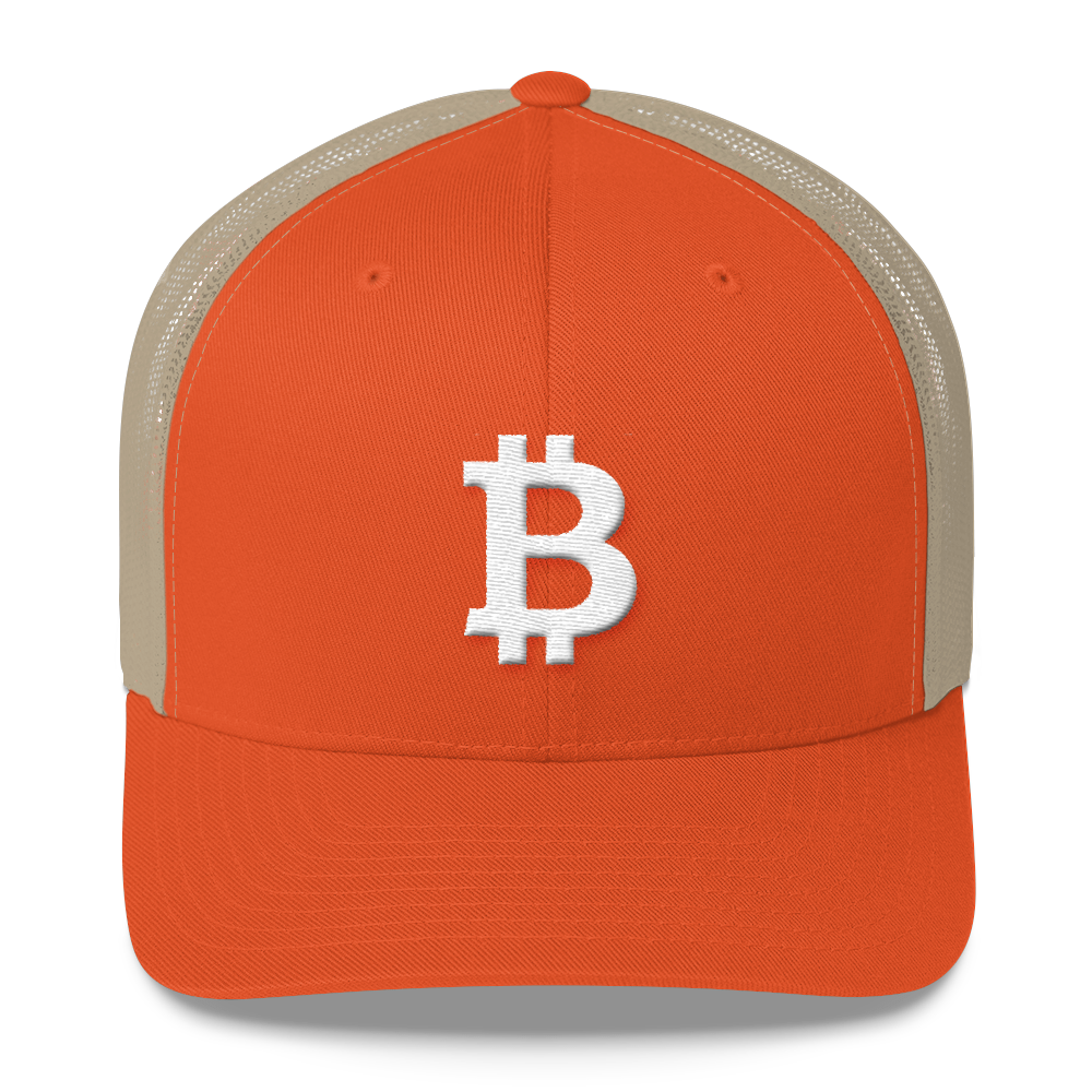 Bitcoin B Trucker Cap White Rustic Orange/ Khaki  - zeroconfs