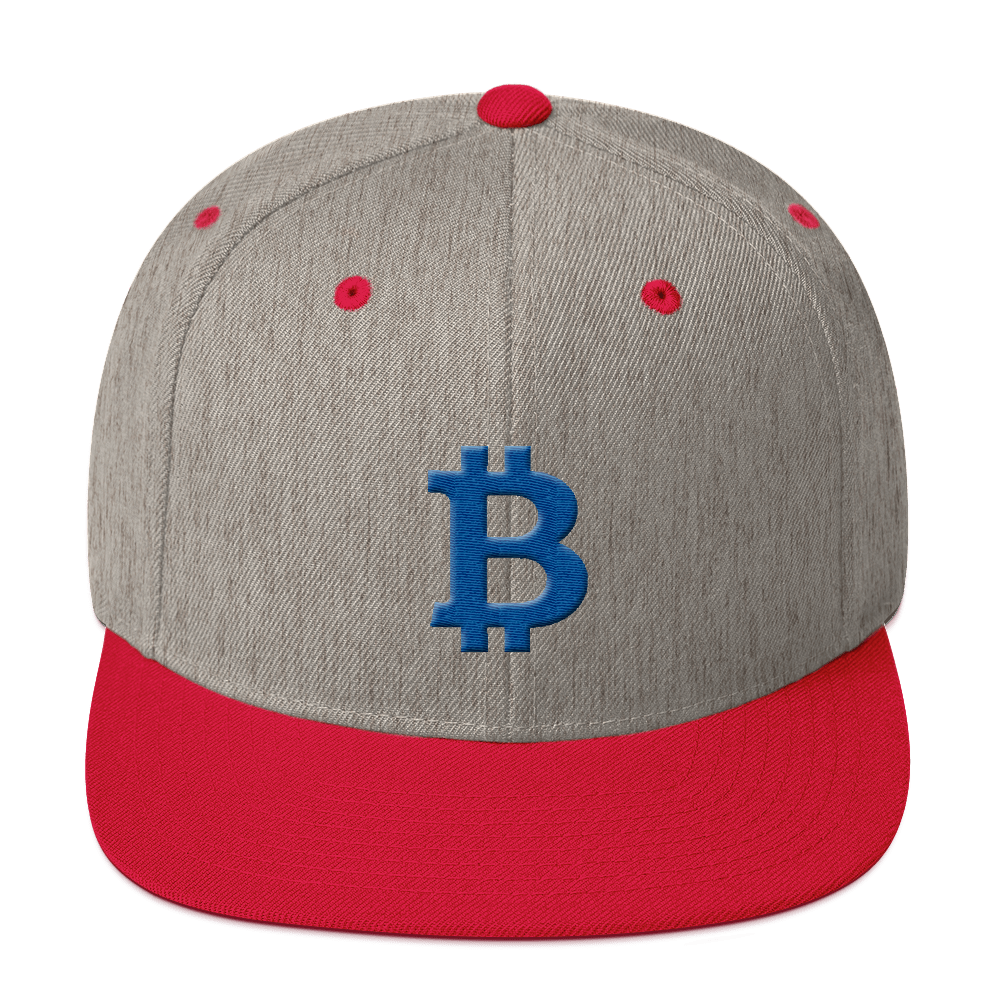 Bitcoin B Snapback Hat Blue Heather Grey/ Red  - zeroconfs