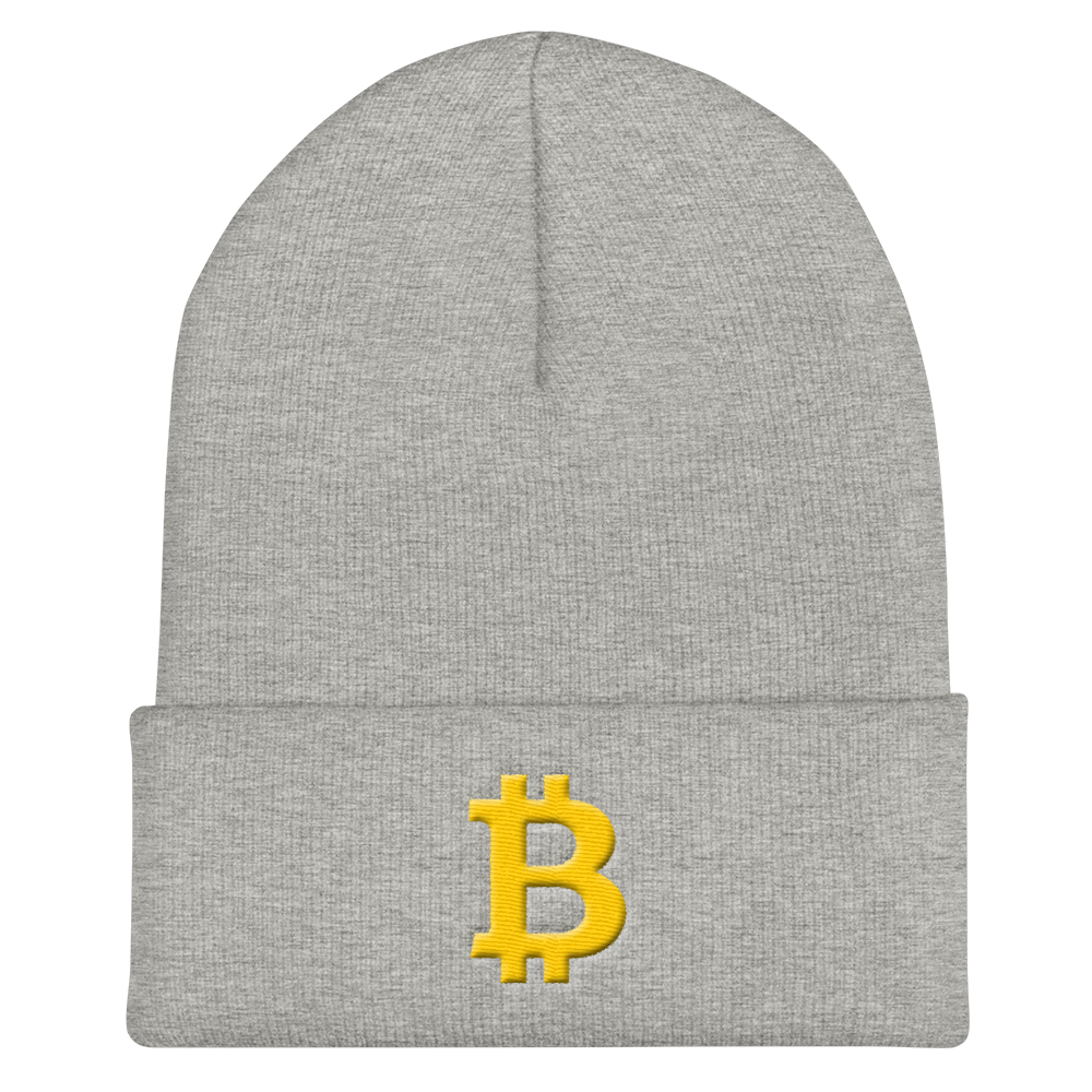 Bitcoin B Cuffed Beanie Heather Grey  - zeroconfs