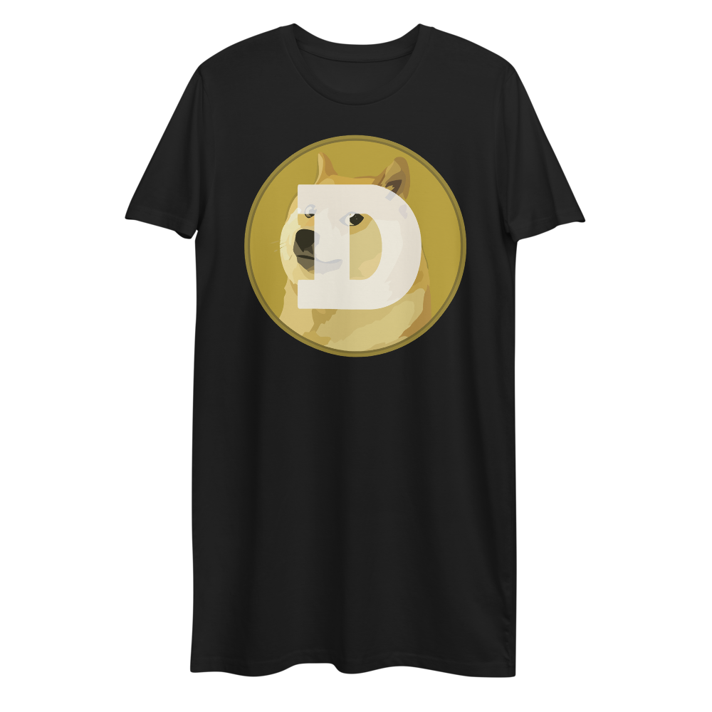 Dogecoin Premium T-Shirt Dress Black XS - zeroconfs