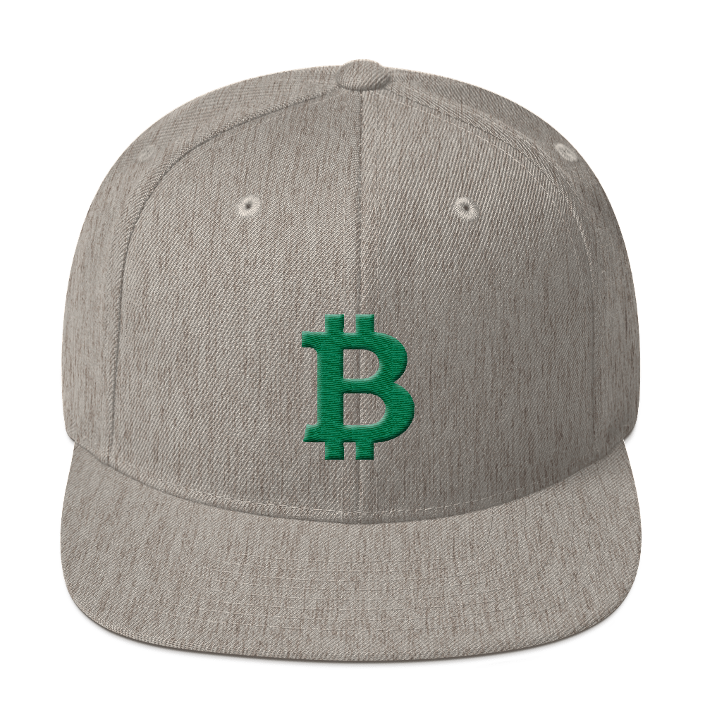 Bitcoin B Snapback Hat Green Heather Grey  - zeroconfs